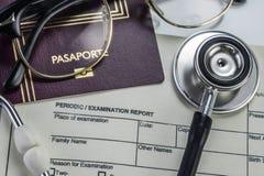 Основные элементы медицины, который нужно путешествовать за рубежом, схематическое изображение Стоковые Фото