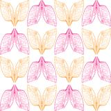 Аbstract orange and pink wings pattern on seamless background royalty free illustration