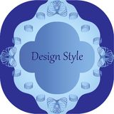 Patterned frame with twisted elements in blue tones royalty free illustration