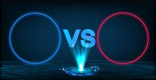 Versus screen with neon circle frames and vs letters stock illustration