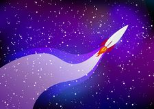 Cartoonish rocket flies in space and leaves a trail against the stars royalty free stock images