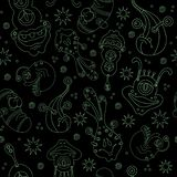 A seamless background pattern of happy, floating, cartoon, vector aliens monsters. Kiddy wallpaper or linen cloth textile design. stock illustration