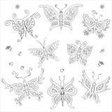 8 butterflies coloring outline doodle stock photos