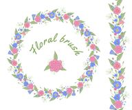 Vector floral brush and floral garland. royalty free illustration