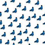 Spring birds illustration, seamless, pattern dove with cylinder. stock illustration