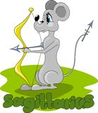 Rat with bow and arrows royalty free illustration