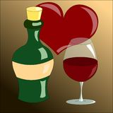 Wineglass and bottle of wine vector illustration