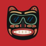 African mask on a red background. Vector graphics. royalty free illustration