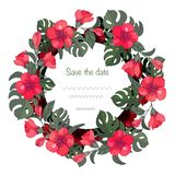 Wreath hibiscus and monstera, greeting card template stock illustration