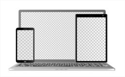 Mock-ups of the  laptop, tablet computer and smartphone with transparent screens in different layers, on a white background. Can be used as a template for your vector illustration