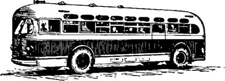 Old school bus drawn in pencil stock photography