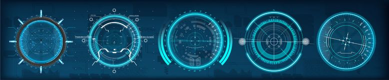 FUI HUD aim of sniper weapon or futuristic game target royalty free illustration