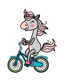 Unicorn on a bicycle royalty free illustration