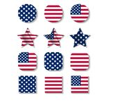 Set of icons with colors of USA flag. Vector illustration stock illustration