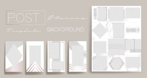 Design backgrounds for social media banner.Set of instagram stories post frame templates.Vector cover. Mockup for personal blog o stock illustration