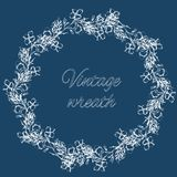 Wedding wreath of white flowers. Contour of delicate flowers and leaves. Vintage style. Wedding wreath of white flowers. Contour of delicate flowers and leaves royalty free illustration