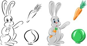 Vector sketch and colorful bunny with carrot and cabbage royalty free illustration