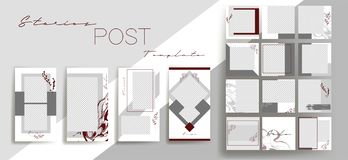 Design backgrounds for social media banner.Set of instagram stories and post frame templates.Vector cover. Mockup for personal blog or shop.Layout for royalty free illustration