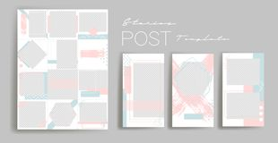 Design backgrounds for social media banner.Set of instagram stories and post frame templates.Vector cover. stock illustration