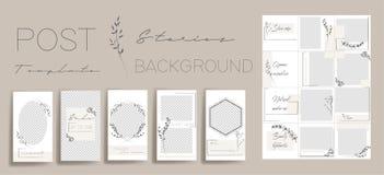 Design backgrounds for social media banner.Set of instagram stories and post frame templates. Vector stories cover. Mockup for personal blog or shop. Endless stock illustration