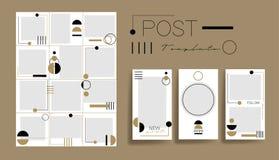 Design backgrounds for social media banner.Set of instagram post frame templates.Vector instagram stories cover. royalty free illustration