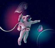 Cosmonaut is chasing a butterfly. Astronaut in space. Vector illustration. stock illustration