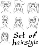 Set of vector hairstyles on long hair stock illustration