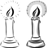 Set of two vector candles drawn by lines royalty free illustration