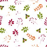 Flat vector. . Seamless pattern: leaves, berries and insects on a white background royalty free illustration