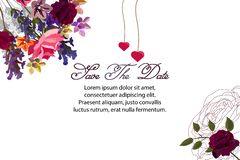 Card with a bouquet of flowers of roses, lavender, butterfly, leaves, hearts stock illustration
