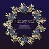 wedding cards Flower frame of roses - greeting card. navy blue and gold concept. Vector illustration. vector illustration