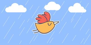 Cute orange cartoon little bird on a blue background. stock illustration