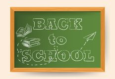 Back to school hand drawn lettering with school items and elements vector banner. Design royalty free illustration