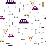 Seamless children`s boyish pattern. Transport, road signs, tools on a white background. royalty free illustration