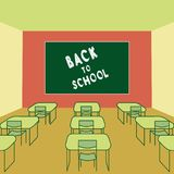 Back to school text drawing chalk in blackboard  Classroom interior with school desks and chairs. vector illustration