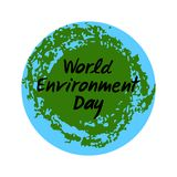 Planet Earth with hand drawn lettering of World Environment Day. Vector illustration vector illustration