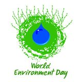 Blue drop of water on the Planet Earth with growing shoots. Symbol of environmental cleanliness. Hand drawn lettering of World Environment Day. Vector royalty free illustration
