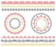 Chinese traditional ornaments. Set of seamless borders and frames stock photo