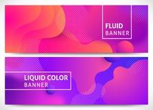 Fluid shapes horizontal banners vector illustration