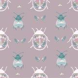 Folk art bug with floral element ornament Scandinavian style vector. Folk art bug with floral element ornament Scandinavian style vector illustration