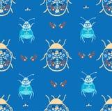 Folk art bug with floral element ornament Scandinavian style vector. Folk art bug with floral element ornament Scandinavian style royalty free illustration
