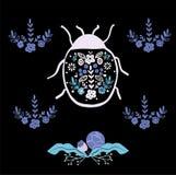 Folk art bug with floral element ornament Scandinavian style vector. Folk art bug with floral element ornament Scandinavian style stock illustration