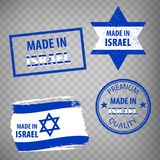 Made in the Israel rubber stamps icon isolated on transparent background. Manufactured or Produced in Israel.  Set of grunge rubbe. R stamps. EPS10 vector illustration