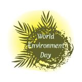 Planet Earth with green palm leaves on the sunny background. Hand drawn lettering of World Environment Day. Vector illustration stock illustration