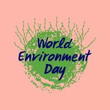 Planet earth with growing green shoots. Hand drawn lettering of World Environment Day. Vector illustration stock illustration