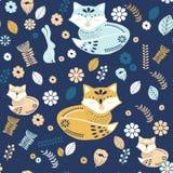 Scandinaviat folk art with fox, nordic style blockprint imitation vector. Scandinavian folk art pattern with birds and flowers stock illustration
