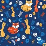 Scandinaviat folk art with fox, nordic style blockprint imitation vector. Scandinavian folk art pattern with birds and flowers royalty free illustration