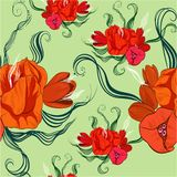 Seamless vector background. Stylized image of spring flowers and buds royalty free illustration