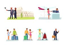 Set of tourists with suitcases and cameras royalty free illustration