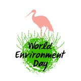 Silhouette of a bird stork on the Planet Earth with growing shoots isolated on the white background. Hand drawn lettering of World Environment Day. Vector royalty free illustration